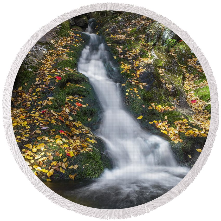 Imp Round Beach Towel featuring the photograph Imp Trail Cascade by Chris Whiton