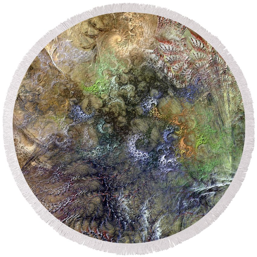 Abstract Round Beach Towel featuring the digital art Imperialistic Miasma by Casey Kotas