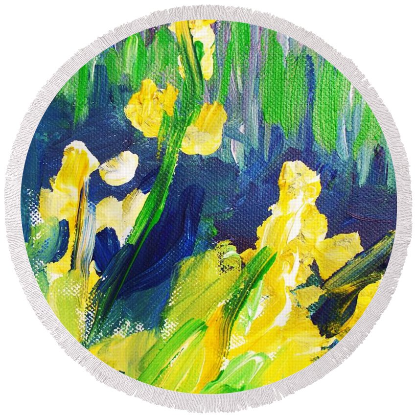 Impressionism Round Beach Towel featuring the painting Impression Flowers by Eric Schiabor