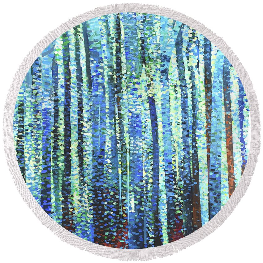 Pastel Round Beach Towel featuring the painting Impression Of Trees by Geoff Greene