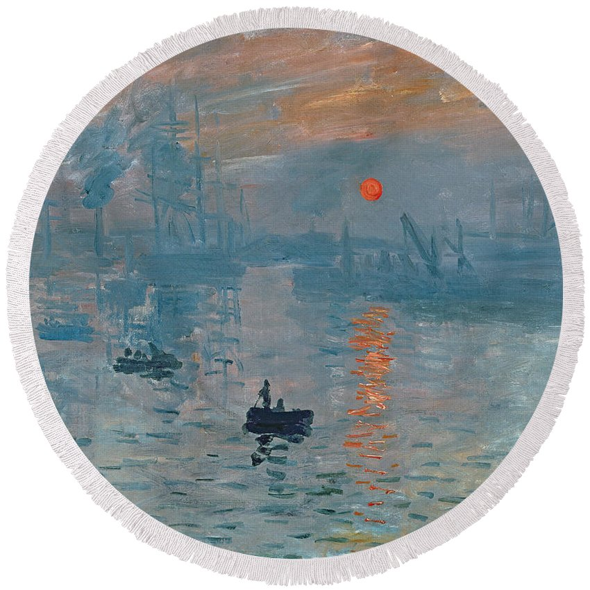 Impression Round Beach Towel featuring the painting Impression Sunrise by Claude Monet