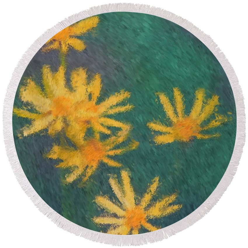 Flower Round Beach Towel featuring the painting Impressionist Yellow Wildflowers by Smilin Eyes Treasures