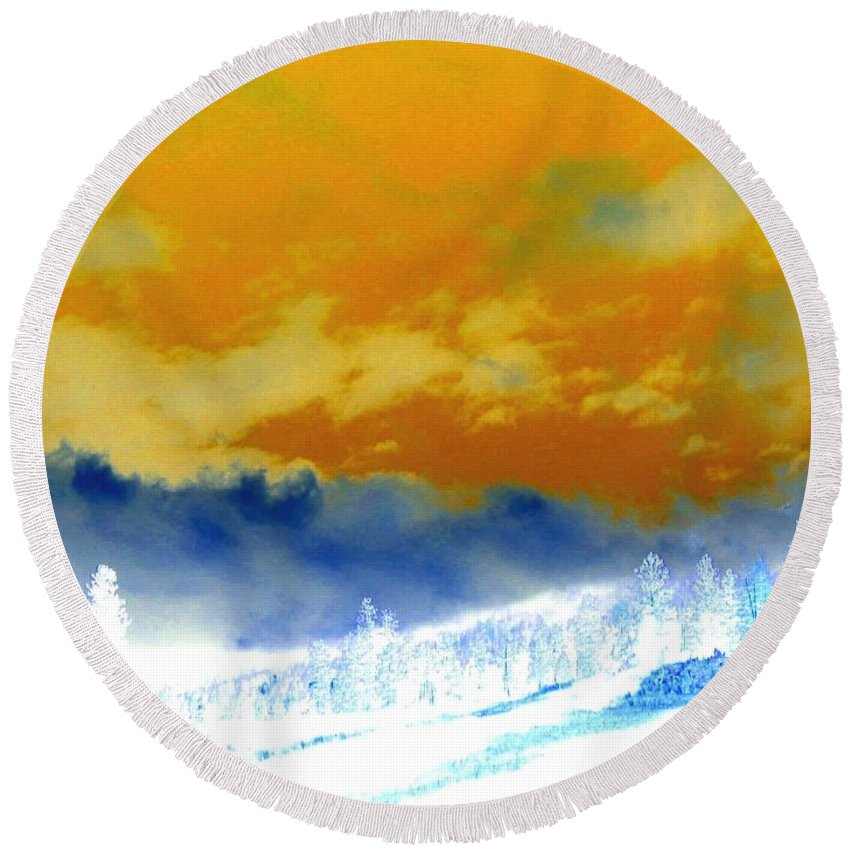 Impressions Round Beach Towel featuring the digital art Impressions 2 by Will Borden