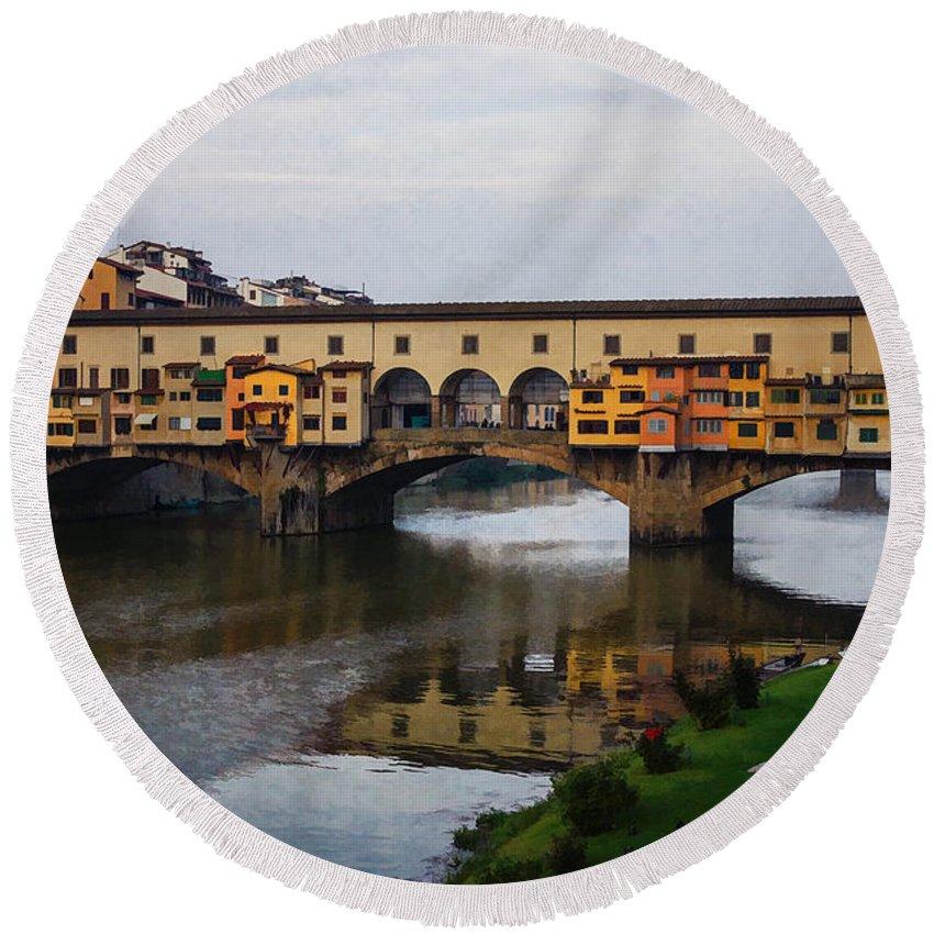 Georgia Mizuleva Round Beach Towel featuring the digital art Impressions Of Florence - Ponte Vecchio Autumn by Georgia Mizuleva
