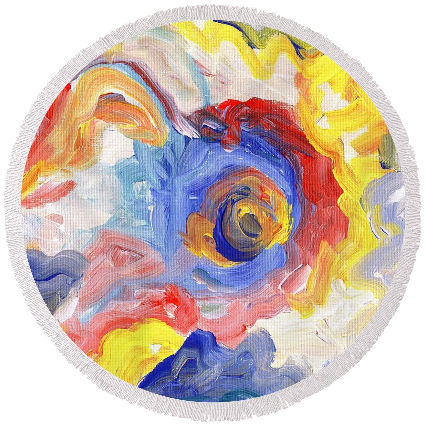 Contemporary Round Beach Towel featuring the digital art Impulse Projected by Linda Mears
