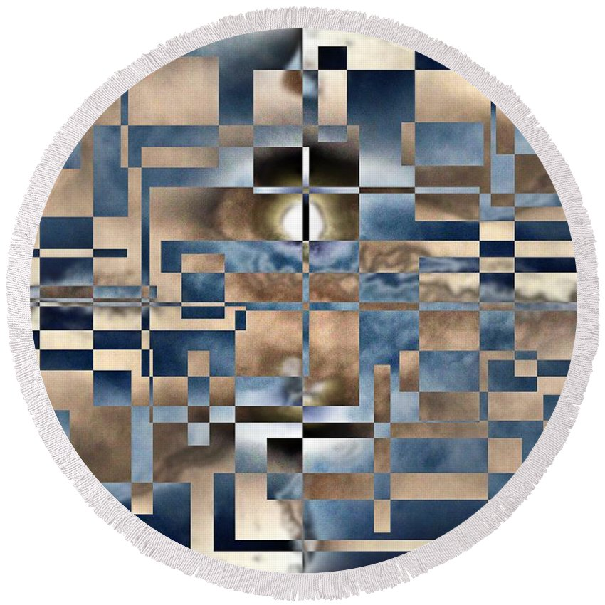 Abstract Round Beach Towel featuring the digital art In A Fog by Tim Allen