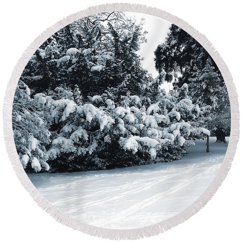 Blue Round Beach Towel featuring the photograph In A Winter Park by Svetlana Sewell