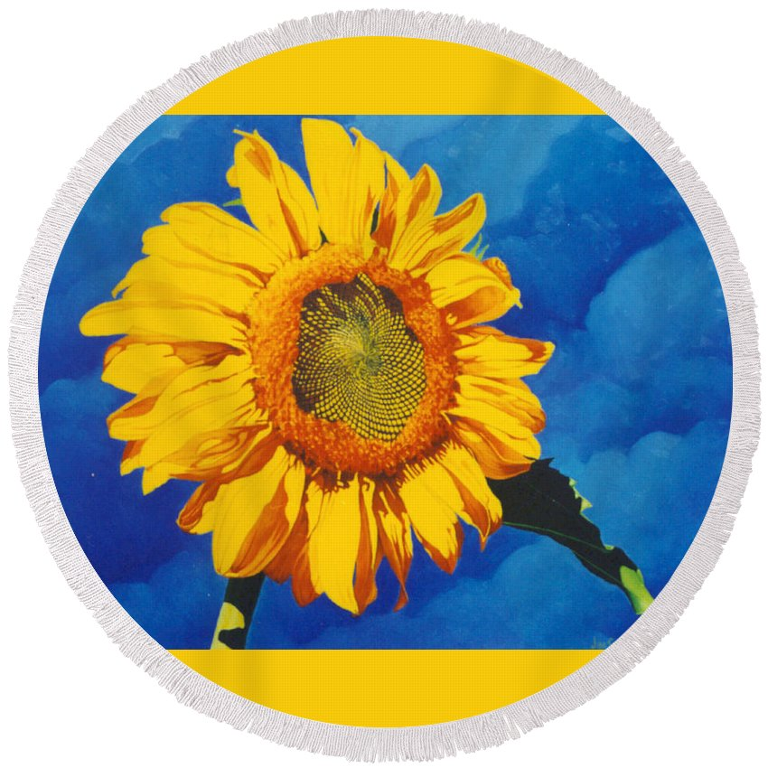 Sunflower Round Beach Towel featuring the painting In All Its Glory by Jim Bob Swafford