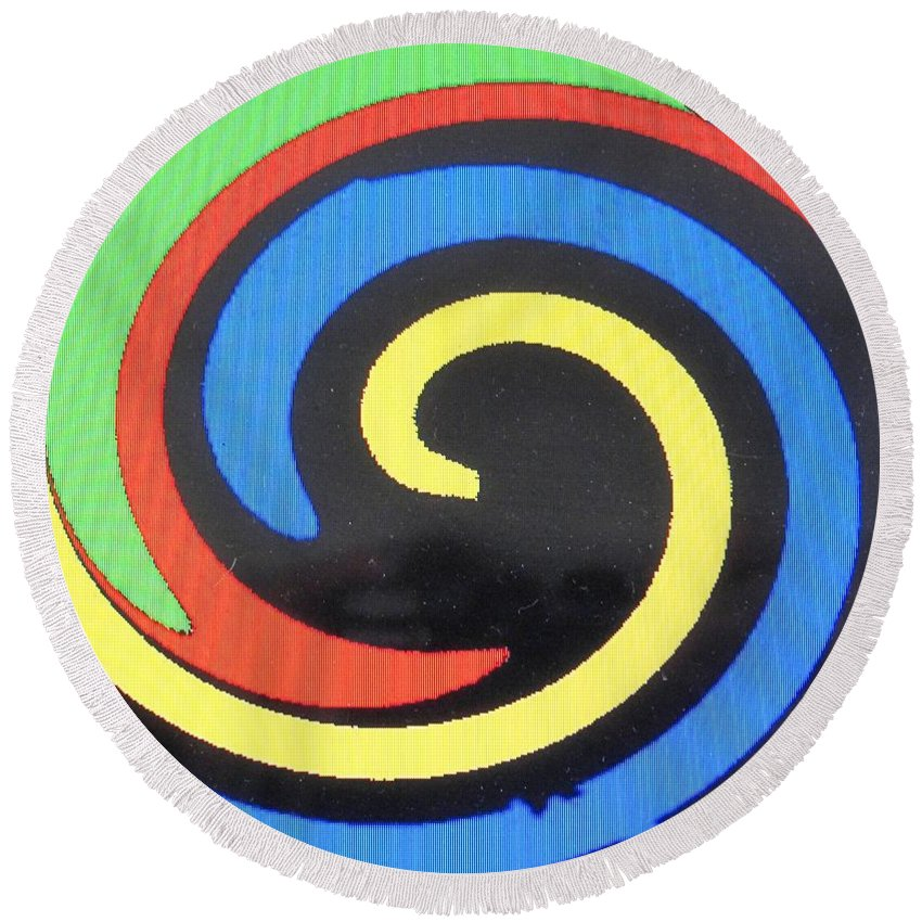 Red Round Beach Towel featuring the digital art In Balance by Ian MacDonald