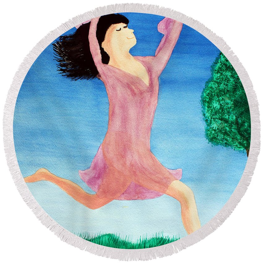Adult Round Beach Towel featuring the painting In Between Heaven And Earth by Lee Serenethos