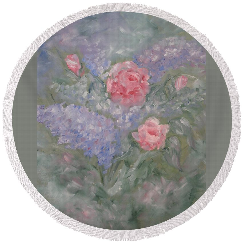 Flowers Round Beach Towel featuring the painting In Bloom by Carrie Mayotte