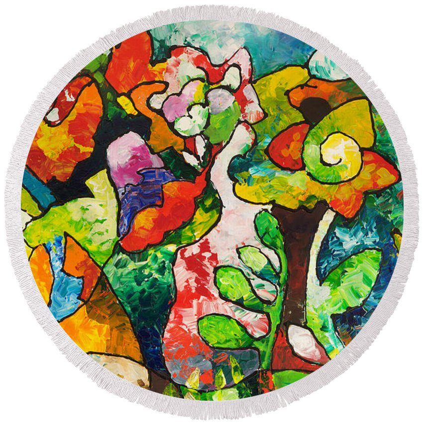 Abstract Round Beach Towel featuring the painting In Bloom by Sally Trace