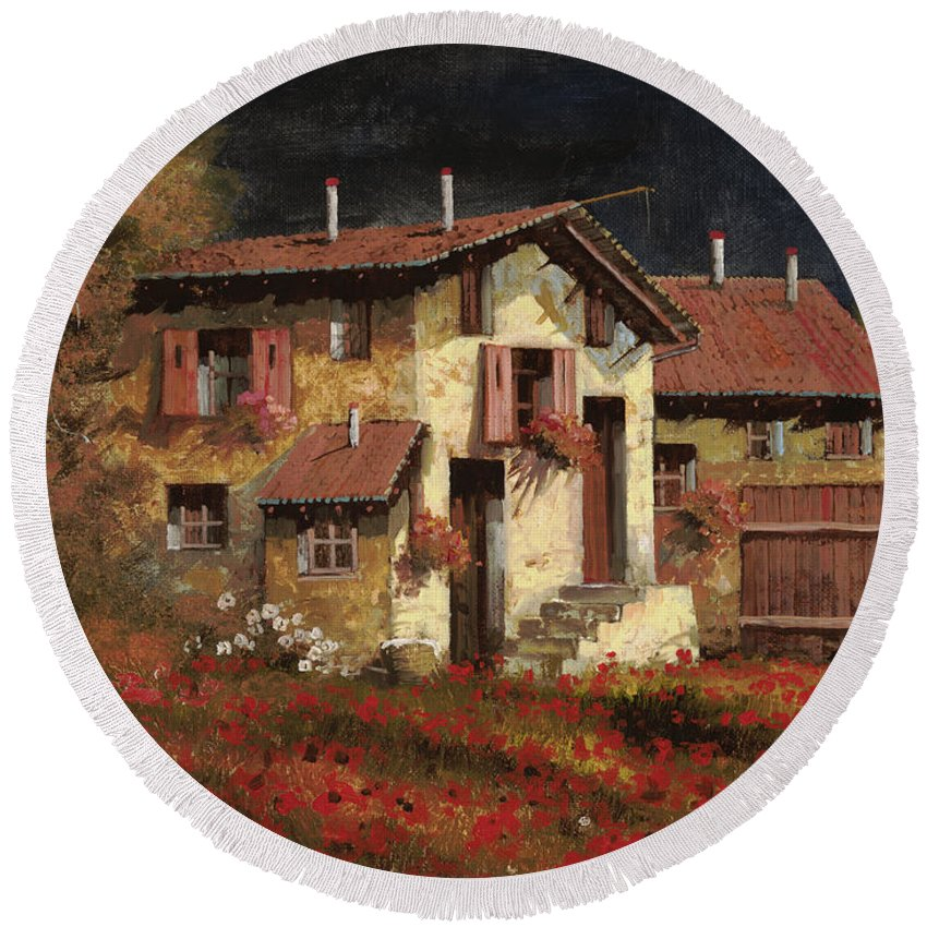 Landscape Round Beach Towel featuring the painting In Campagna La Sera by Guido Borelli