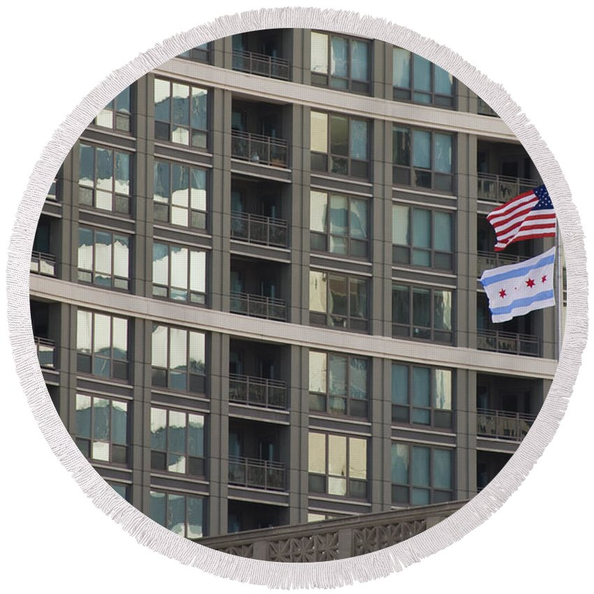 Chicago Windy City Metro Urban Building Windows Flag Reflection Round Beach Towel featuring the photograph In Chicago by Andrei Shliakhau
