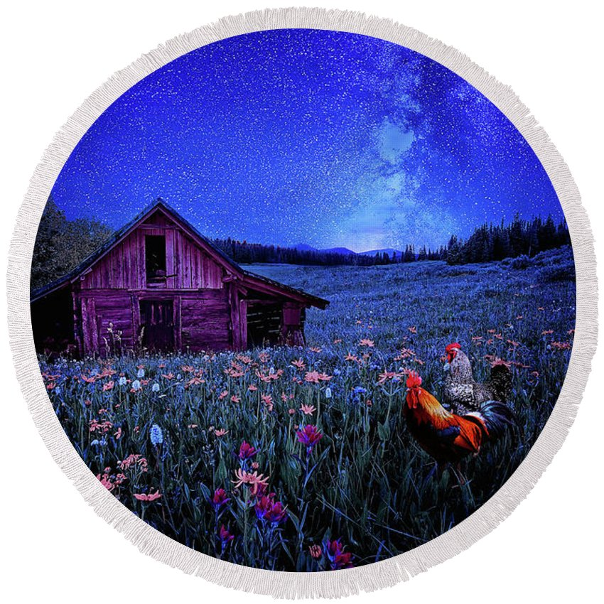 Stars Round Beach Towel featuring the digital art In Dreams by Nhat Le
