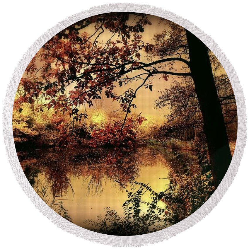 Autumn Round Beach Towel featuring the photograph In Dreams by Jacky Gerritsen