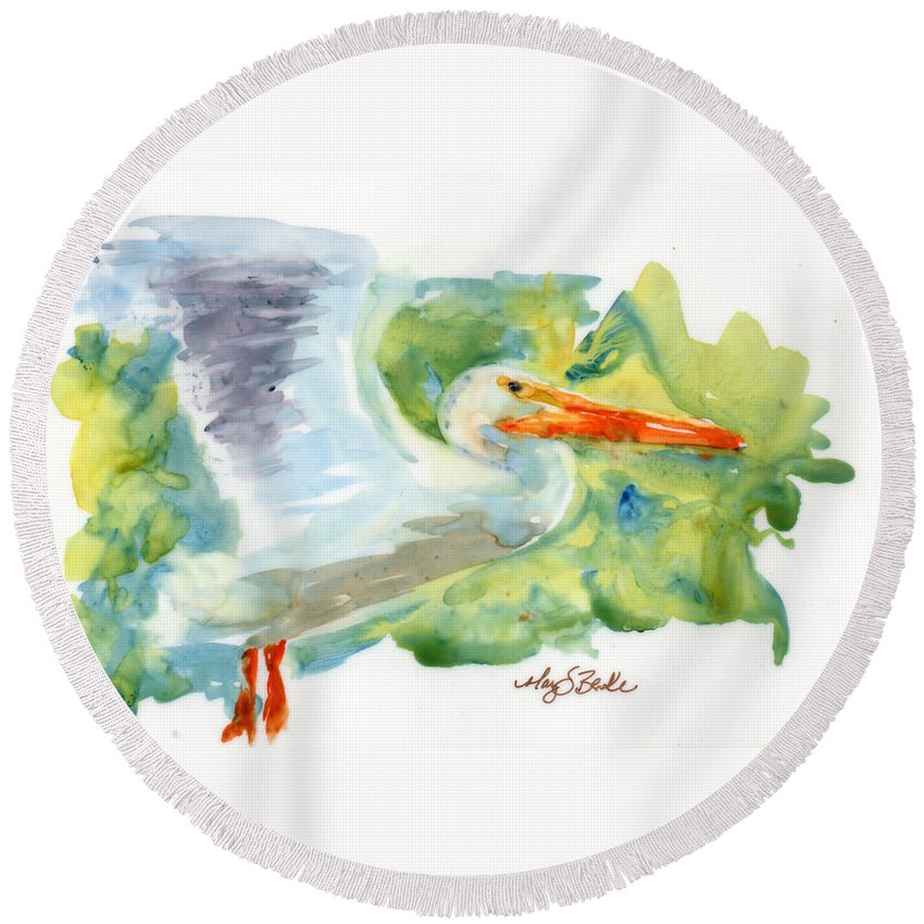 Beak Round Beach Towel featuring the painting In Flight by Mary Benke
