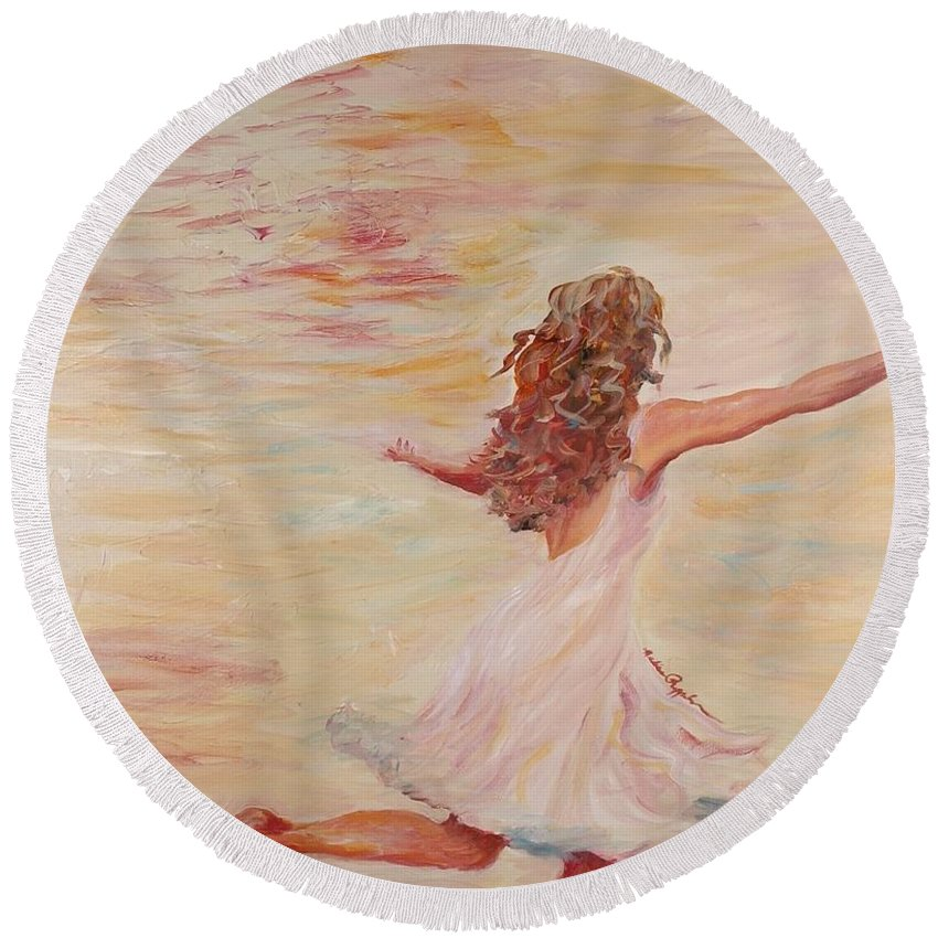 Dance Round Beach Towel featuring the painting In Him We Live by Nadine Rippelmeyer