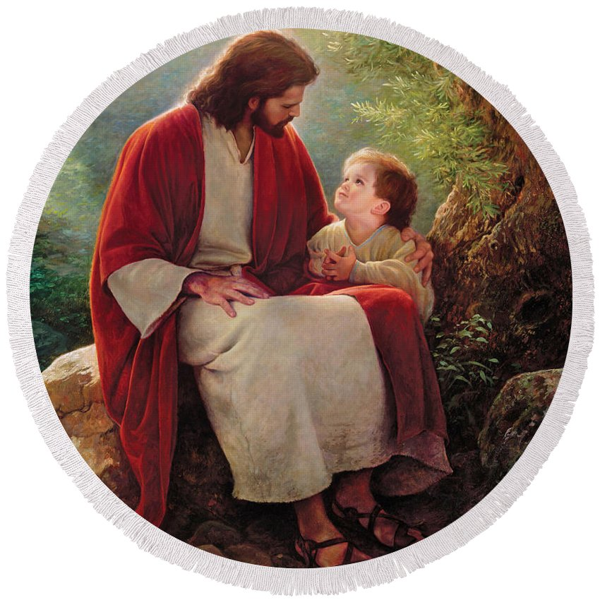 Jesus Round Beach Towel featuring the painting In His Light by Greg Olsen