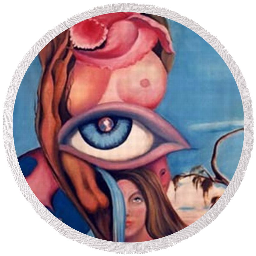 Blue Surreal Artwork Round Beach Towel featuring the painting In My World by Jordana Sands