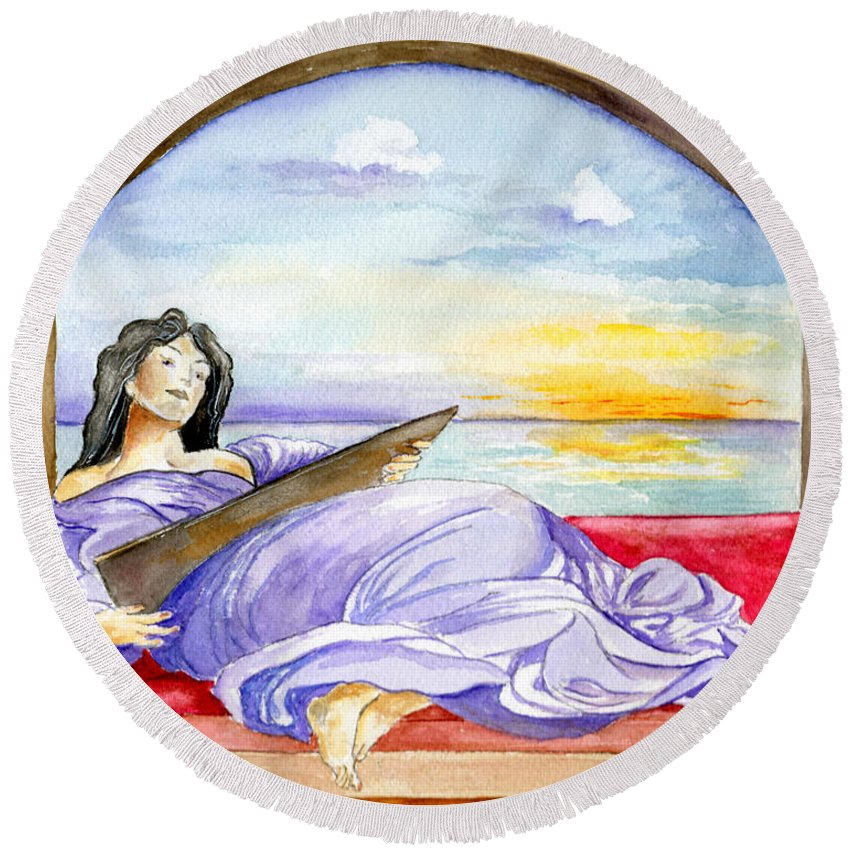 Landscape Woman Romantic Figure Window Sea Sky Round Beach Towel featuring the painting In Paradisum by Brenda Owen