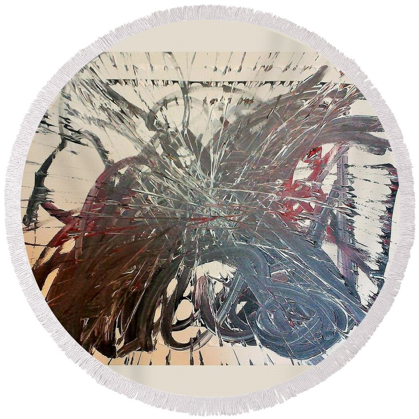 Abstract Round Beach Towel featuring the painting In Ruins Part 1 by Krista Duranti