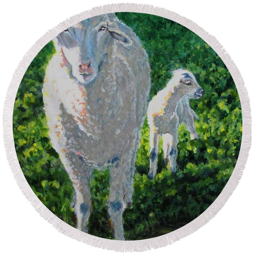 Sheep Round Beach Towel featuring the painting In Sheep's Clothing by Karen Ilari