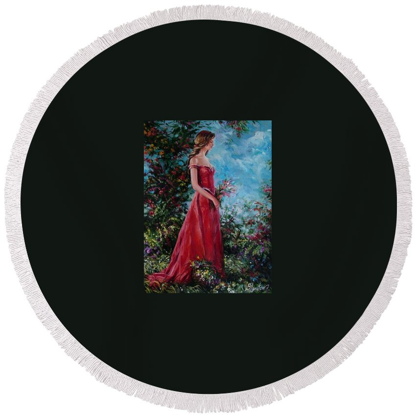 Figurative Round Beach Towel featuring the painting In Summer Garden by Sergey Ignatenko