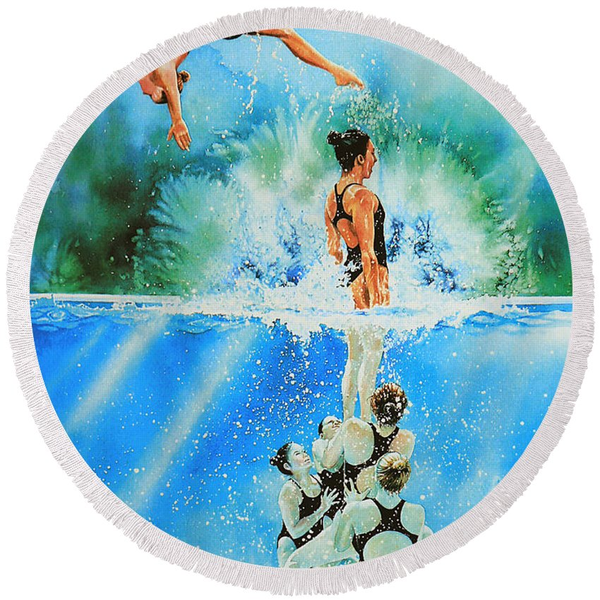 Swimming Round Beach Towel featuring the painting In Sync by Hanne Lore Koehler