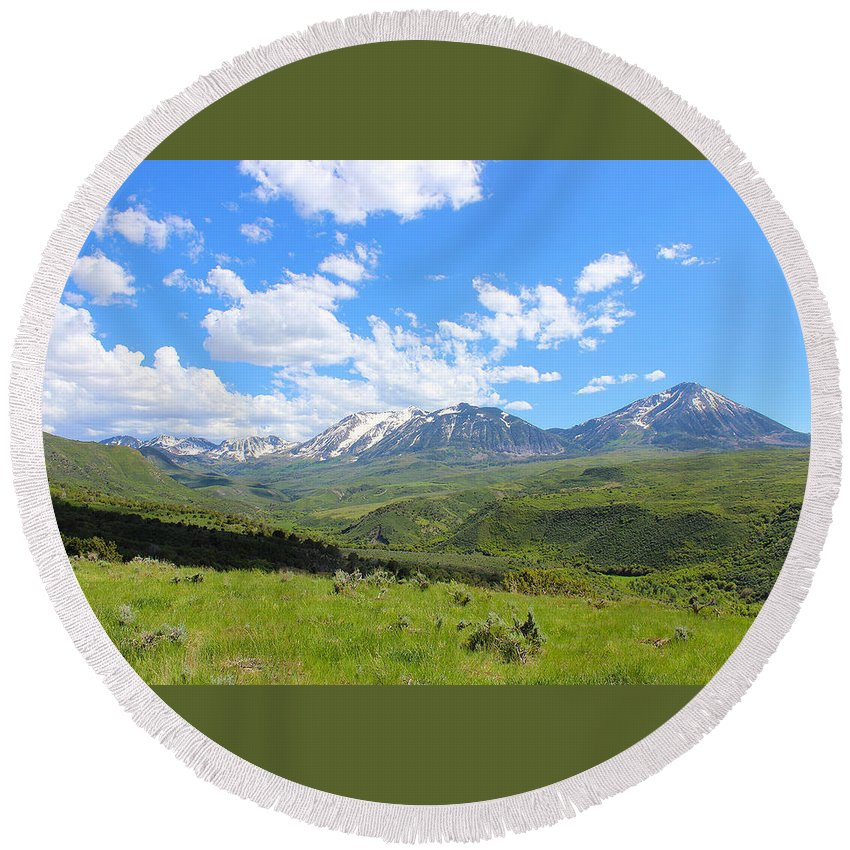 Mountains Round Beach Towel featuring the photograph In The Back Country 2 by Samantha Burrow