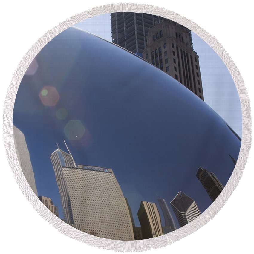 Chicago City Windy Wind Bean Park Sun Reflect Reflection Metro Urban Art Round Beach Towel featuring the photograph In The Bean by Andrei Shliakhau