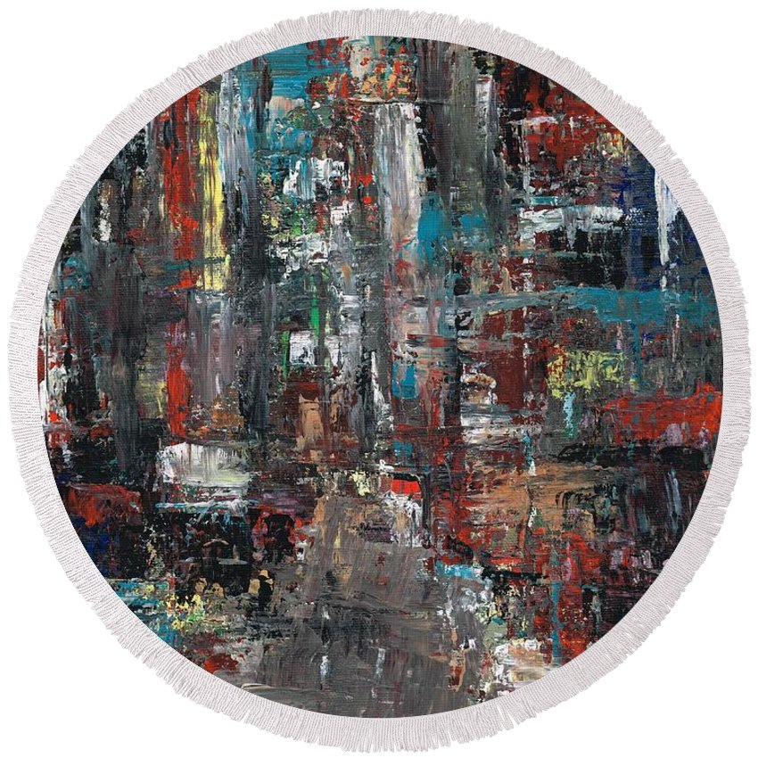 Cities Round Beach Towel featuring the painting In The City by Frances Marino
