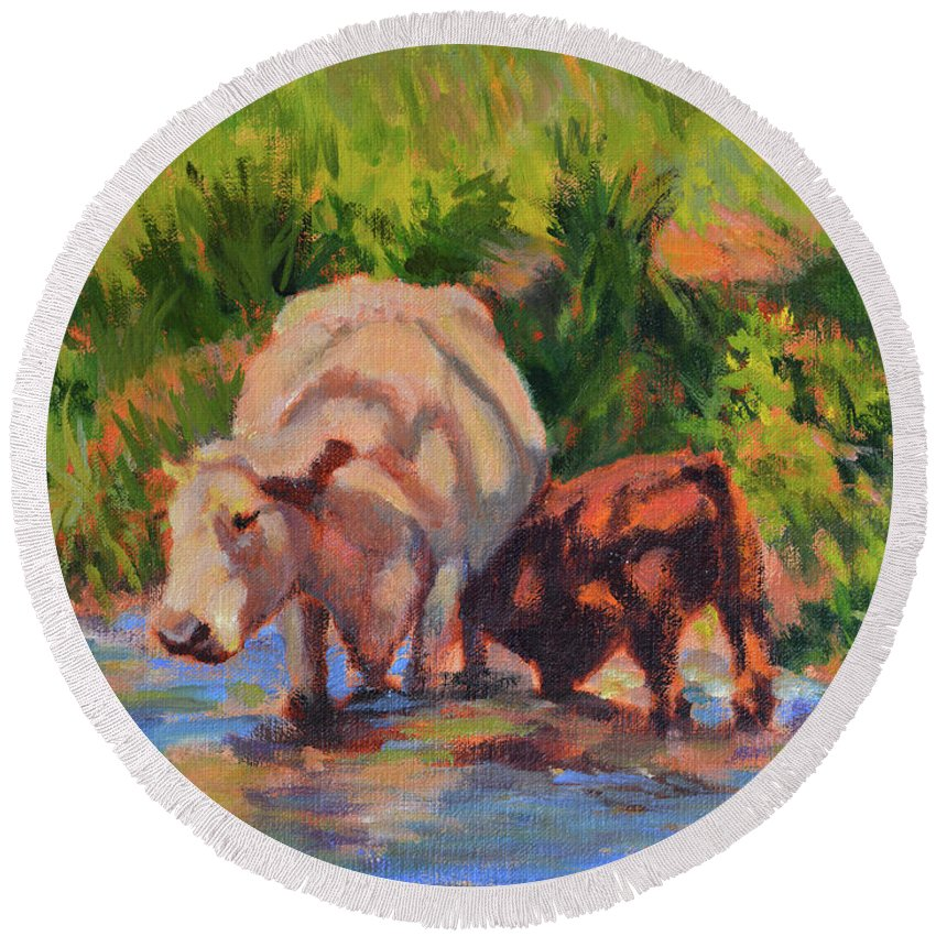 Impressionism Round Beach Towel featuring the painting In The Creek by Keith Burgess