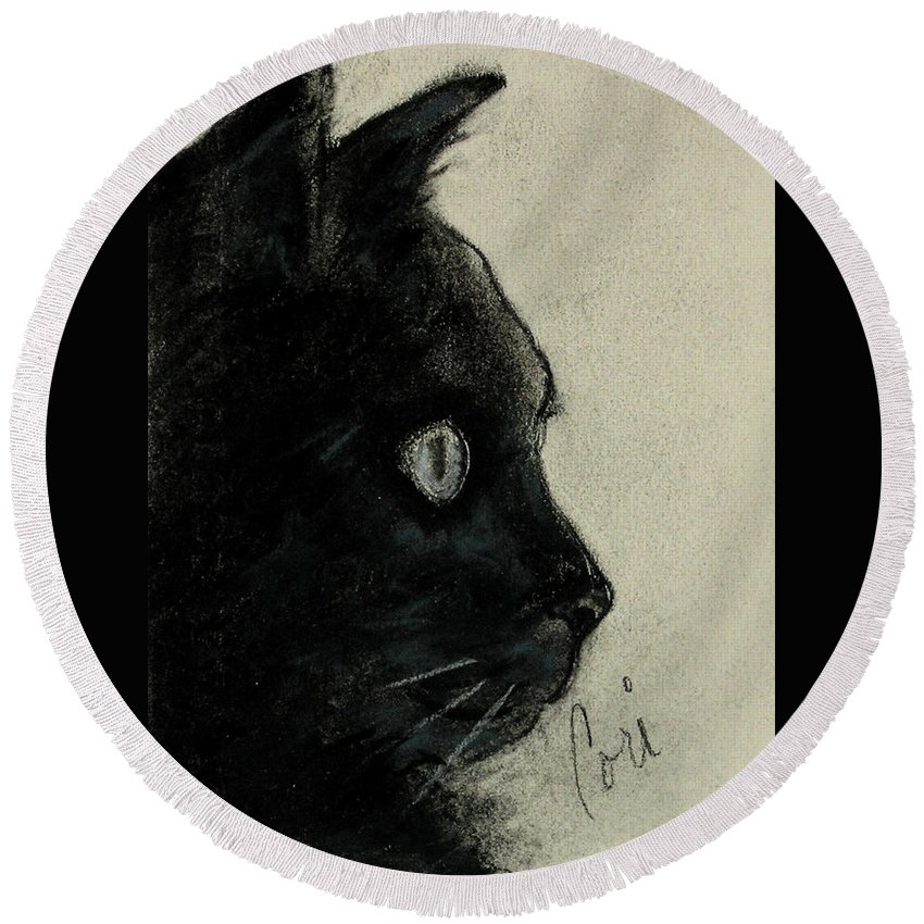 Cat Round Beach Towel featuring the drawing In The Dark by Cori Solomon