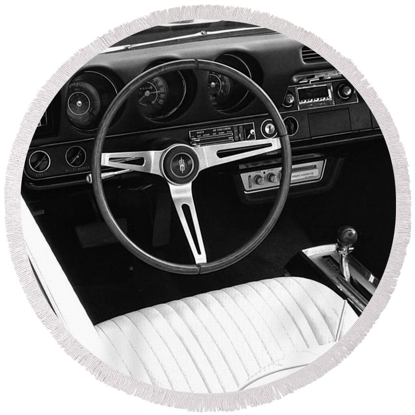 Muscle Car Round Beach Towel featuring the digital art In The Driver's Seat 2 by Jeremey Nutt