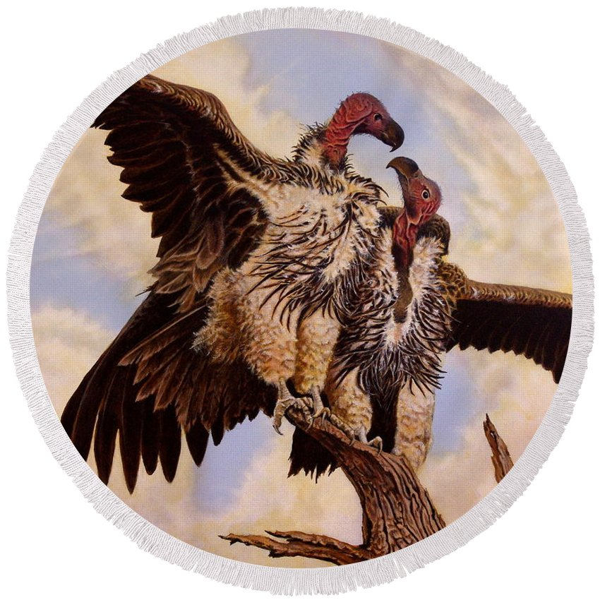 Vulture Round Beach Towel featuring the painting In The Eye Of The Beholder by Greg and Linda Halom