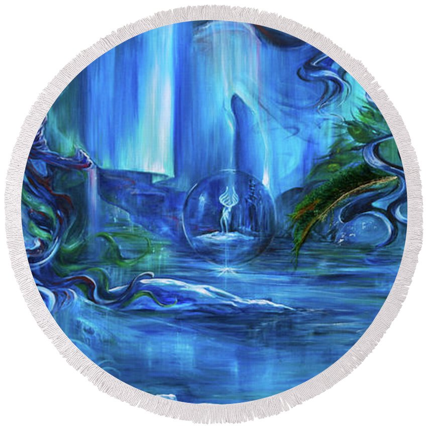 Ice Round Beach Towel featuring the painting In The Eyes Of Aurora by Jennifer Christenson