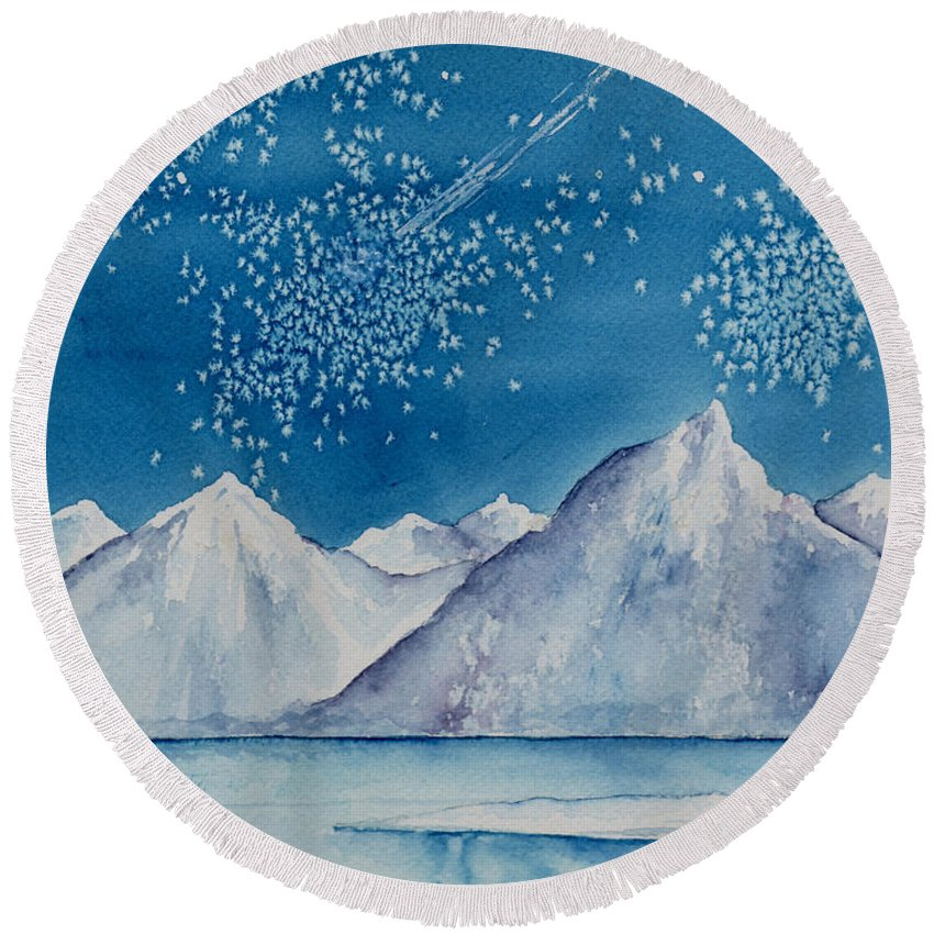 Watercol.or Scenery Landscape Fantasy Ice Snow Cold Winter Mountains Frozen Round Beach Towel featuring the painting In The Far North by Brenda Owen
