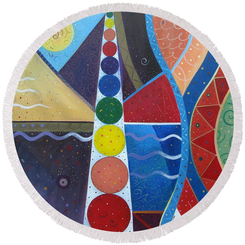 Abstract Landscape Round Beach Towel featuring the painting In The Flow by Helena Tiainen