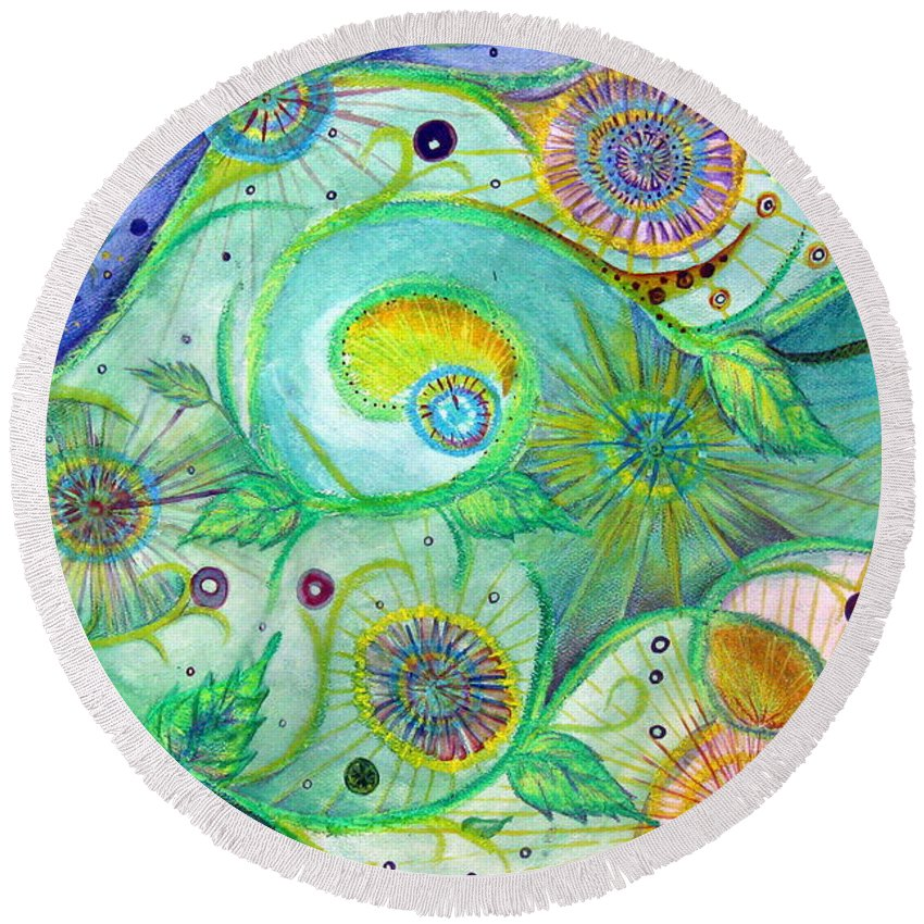 Landscape Round Beach Towel featuring the drawing In The Garden by Amanda Kabat