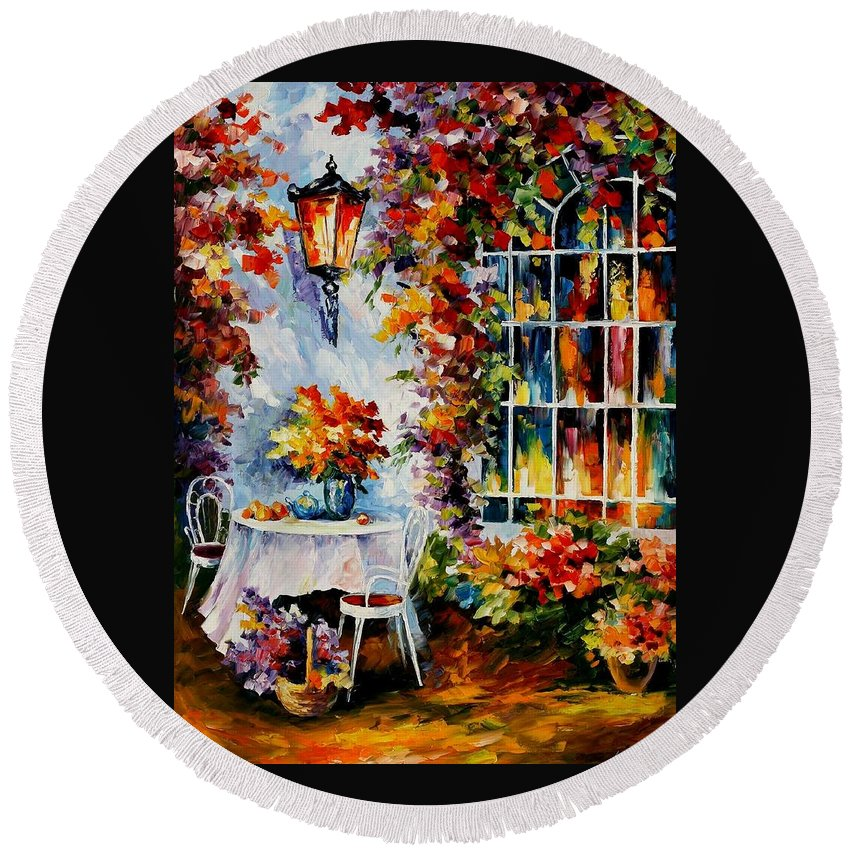 Afremov Round Beach Towel featuring the painting In The Garden by Leonid Afremov