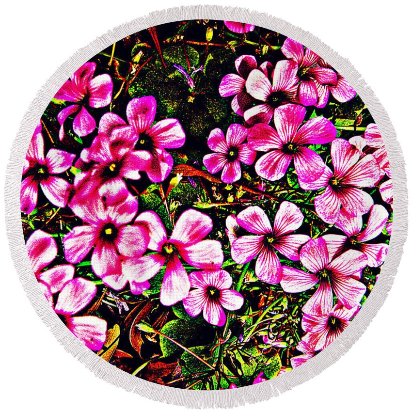 Garden Round Beach Towel featuring the photograph In The Garden by Leslie Revels