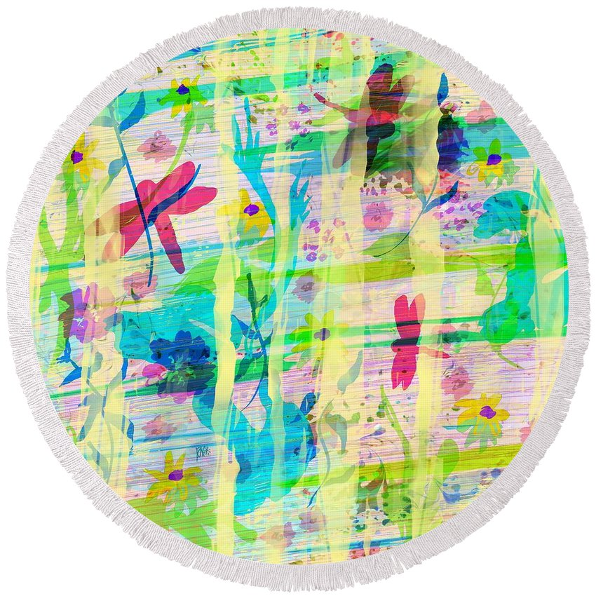 Abstract Round Beach Towel featuring the digital art In The Garden by Rachel Christine Nowicki