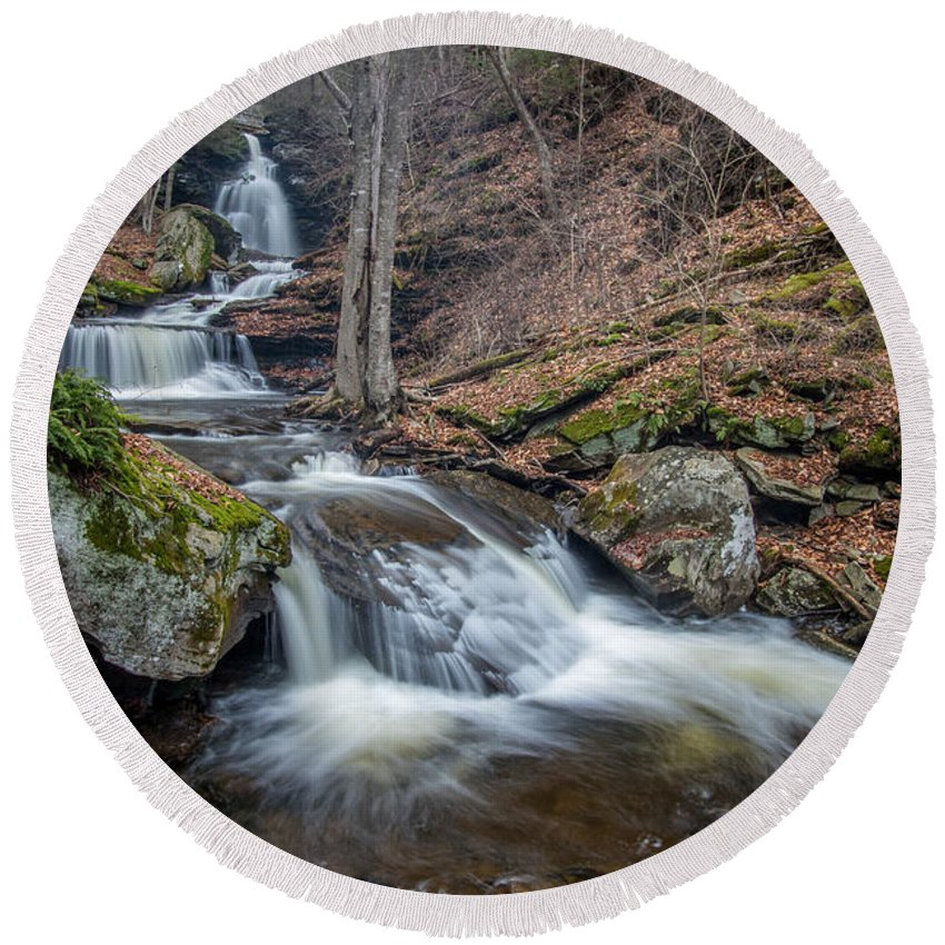 Ricketts Glen Round Beach Towel featuring the photograph In The Glen by Todd Wilkinson