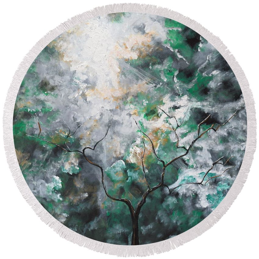 Tree Round Beach Towel featuring the painting In The Glory by Stefan Duncan