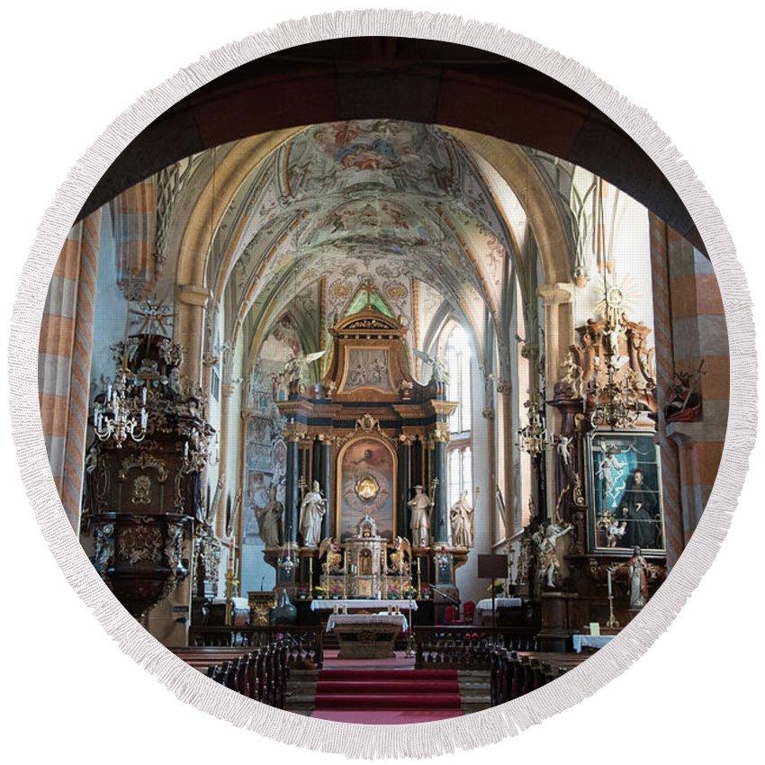 Church Round Beach Towel featuring the photograph In The Gothic-baroque Church by Nicola Simeoni