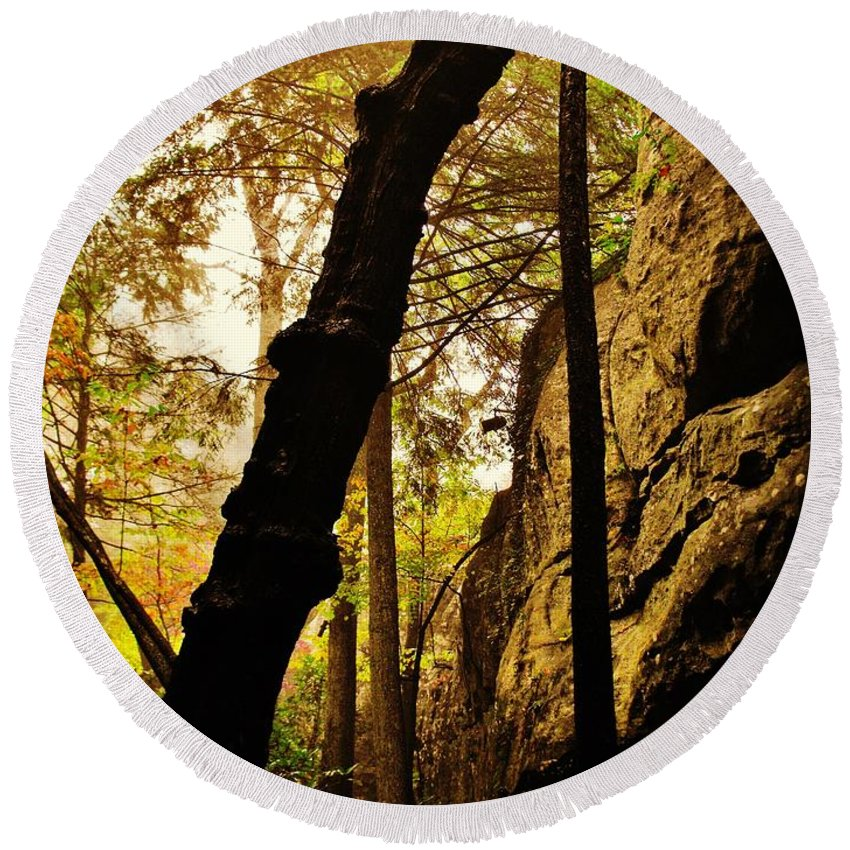 Rock City Round Beach Towel featuring the photograph In The Gully by Lori Mahaffey