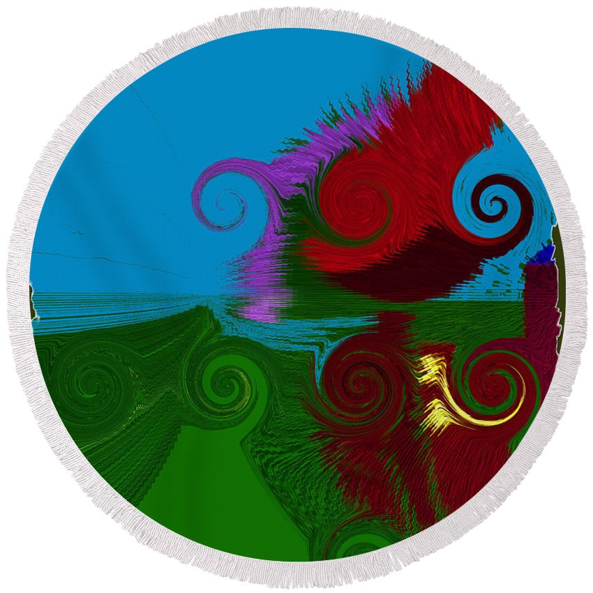 Digital Round Beach Towel featuring the digital art In The Land Of Suess by Donna Blackhall