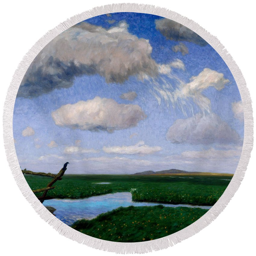 Fritz Overbeck Round Beach Towel featuring the painting In The Meadows by Fritz Overbeck