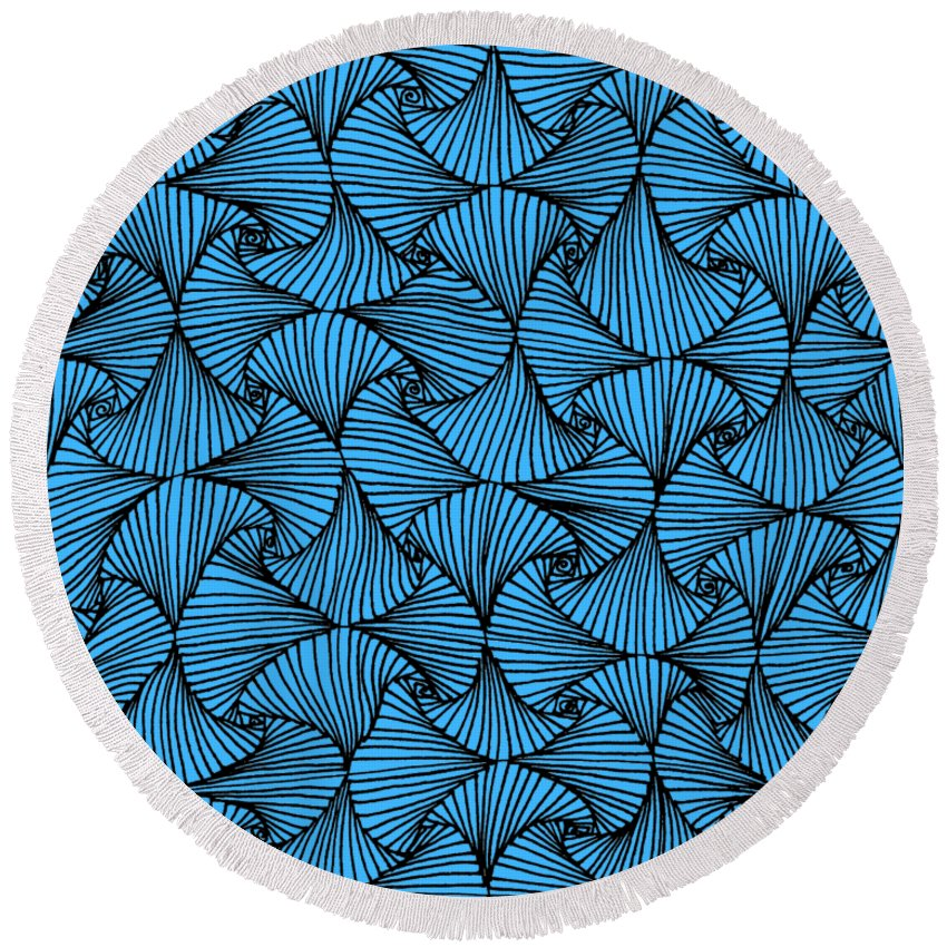 Black And White Round Beach Towel featuring the drawing In The Moment by A Mad Doodler